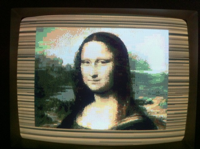 The Gioconda displayed in a ZX Spectrum with ULA+ and Timex Hicolor support